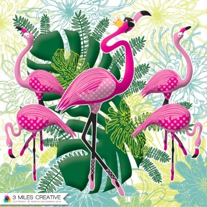"""Flamingoes greeting card"". Copyright Robyn Bockmann 2014."